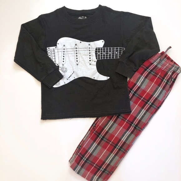 Wes and Willy Other - Boys Wes & Willy Lounge Pajama Pants Guitar Tee 4